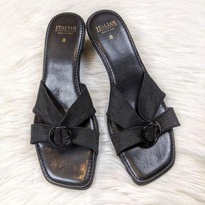 Italian Shoemakers black wedge heel sandals